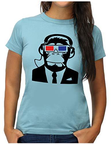 OM3® Monkey Movie Geek T-Shirt | Damen | Ape AFFE 3D Kino TV | S, Hellblau