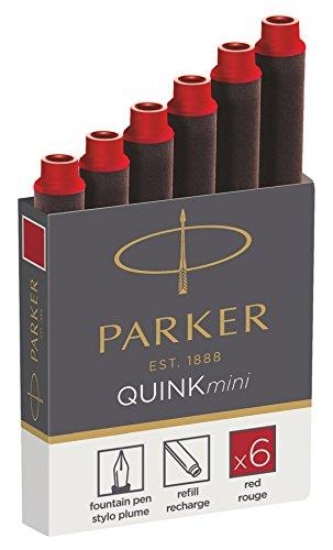 Parker Quink recambios para plumas estilográficas, cartuchos cortos, tinta roja, paquete de 6