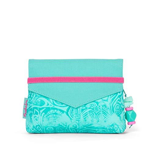 Satch Beauty Wallet – Kosmetiktasche, Zwei Fächer, mit Spiegel - Aloha Mint, Türkis
