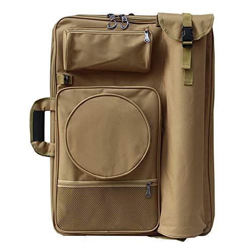 Staffelei Sitzstaffelei Rucksack 4K Canvas Bag Regenfeste Art Sketching Canvas-Tasche mit arbeitssparender Rückenpolsterverstärkung HUYP (Color : Khaki)