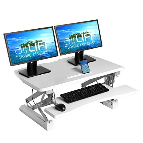 Seville Classics Workstation Ergonomic Dual Monitor Riser with Keyboard Tray and Phone/Tablet Holder airLIFT Height Adjustable Stand Up Desk, Full (36'), White
