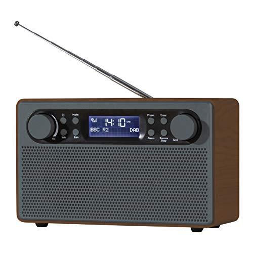 Daewoo AVS1324 - Radio DAB/FM in legno con grande display LCD, stazione digitale preimpostata, antenna telescopica, presa per cuffie, facile da usare, per casa o ufficio, colore: argento, porcellana