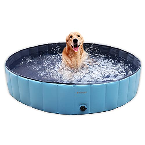 Mihealpet Dog Swimming Pool Foldable Backyard Collapsible Bath Tub PVC Leakproof Water Outdoor Indoor Playing, Blue 55in for Kiddie Puppy Cats
