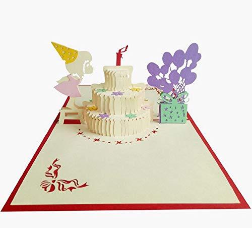 Handmade 3D Pop-up Geburtstagskarte Mädchen Kuchen Ballon Geschenk Kerze Bogen Sterne Papercraft Laser geschnitten Origami Kirigami rosa Tochter Party Einladung