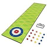 GoSports Pure Putt Challenge Curling & Shuffleboard 2-in-1 Putting Game | Huge 10ft Putting Green Rug with 16 Golf Balls & Scorecard