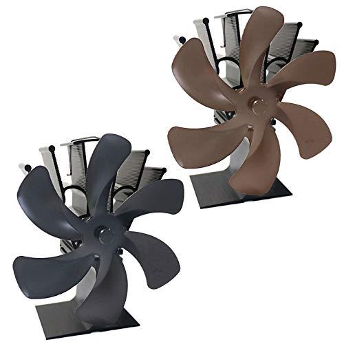 FLAMEER 2 Piezas Ventilador de Chimenea de 6 Aspas Mejorado Ventilador de Horno con Funcionamiento Térmico para Estufa de Leña/Leña/Chimenea Ventilador de
