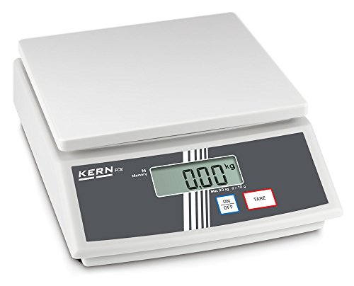 Tischwaage [Kern FCE 15K5N] Einsteiger-Tischwaage, mobil, handlich, leicht, Wägebereich [Max]: 15 kg, Ablesbarkeit [d]: 5 g, Reproduzierbarkeit: 10 g, Linearität: 15 g, Wägeplatte: BxT 252x228 mm (Kunststoff)