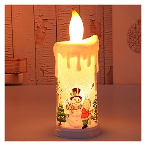 GUIDATO Luce di candela senza fiamma, simulazione Fiamma Candela di Natale, candela della batteria del pupazzo di neve di Babbo Natale, candela calda della luce for la decorazione del desktop del cami
