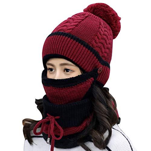 MIWEI - Conjunto de bufanda de punto para mujer, forro polar muy suave, cálido, gorro de invierno, bufandas infinitas, gorro elástico de punto elástico, ajuste cómodo para mujeres y niñas (rojo vino)