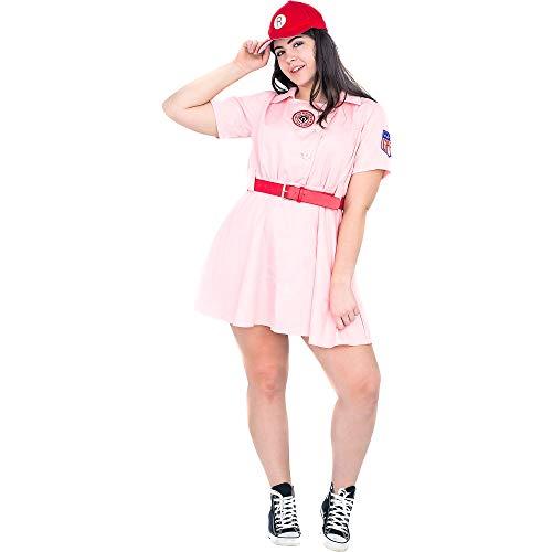 A League of Their Own Rock Ford Peaches aagpbl Béisbol para Disfraz De Mujer Dress Pink/Red XXL