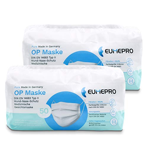 EUMEPRO Weiße OP Maske Typ II, Pure Made in Germany, 100 Stück, DIN EN 14683 Typ II zertifiziert, 99,9% Bakterielle Filtrations Effizienz I Chirurgische Einweg-Masken als Mund-Nasen-Schutz