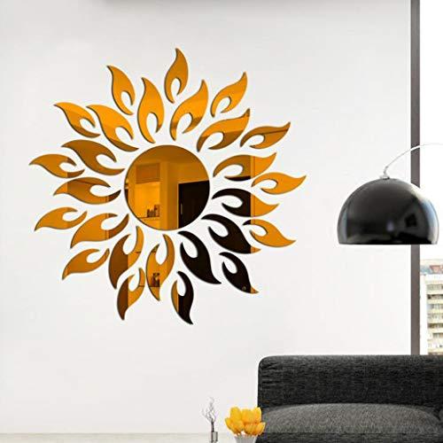 LHY Espejo redondo tridimensional con diseño de sol 3D, 14 cm (color: marrón)
