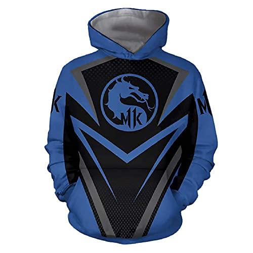Versacec Sweat à Capuche pour Hommes, Mortal Kombat 11 Sweat à Capuche imprimé en 3D Sweat à Capuche décontracté Cosplay Sweatshirt extérieur Bleu,5XL