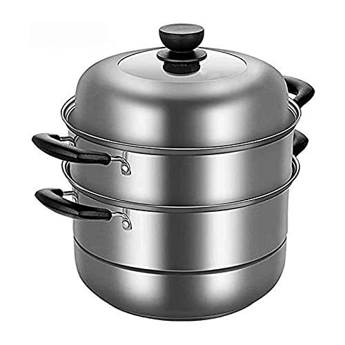 DYB Juego de Utensilios de Cocina, vaporera de 3 Capas, Olla de Acero Inoxidable para Utensilios domésticos con Inserto de vaporera con Tapa de Vidrio y Mango Resistente al Calor