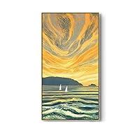 """風景帆布絵画、抽象的なマウンテンリバーウォールアートポスターとプリント、リビングルームの家の装飾15.7"""" X 27.5""""(40x70cm)フレームなし"""