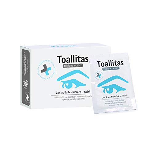 Toallitas Oftálmicas Estériles 20 unidades (Acido Hialurónico + Caléndula + Hammamelis) Higiene de párpados y pestañas.