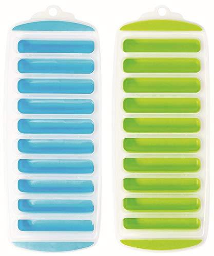 Avanti 12483 10 Cup Pop Release Ice Stick Tray 2-Pieces Set, Blue/Green