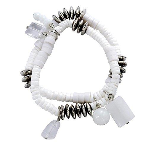 Behave Elastische armband met schelpen, stretch-armband, wit met schelpen, mooie schelpenarmband