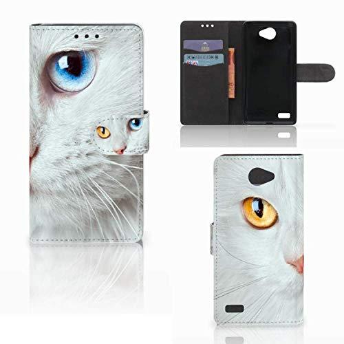 B2Ctelecom Schutzhülle kompatibel für LG Bello 2 Lederhülle Weiße Katze - Personalisierung mit Ihrem Wunschnamen oder -tekst