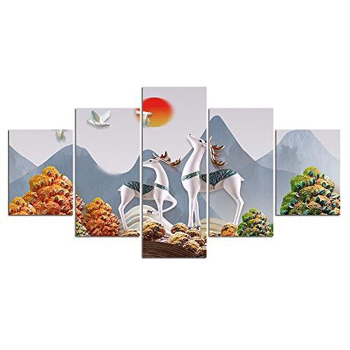 ELSFK Cuadro En Lienzo Alce Animal de la Jungla nórdica Impresión De 5 Piezas Material Tejido No Tejido Impresión Artística Imagen Gráfica Decor Pared 100x55cm