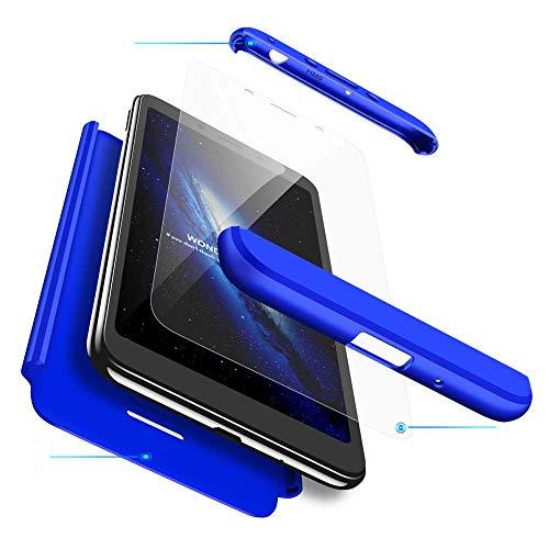 cmdkd Funda Compatible con Xiaomi Redmi 6,Case Bumper 3 en 1 Estructura 360 Grados Integral para Ambas Caras Hard Skin Carcasa + Cristal Templado.Azul