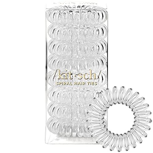 Kitsch Spiral Hair Ties  Coil Hair Ties  Phone Cord Hair Ties  Ponytail Hair Coils No Crease - 8 pcs  Transparent