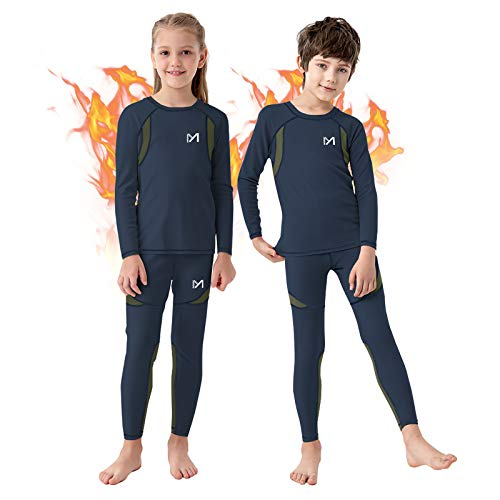 Boy's Thermal Underwear Set, Ultra Soft Fleece Lined Compression Base Layer, Winter Active Long Johns for Kids 8-16 Years (Blue, Large)