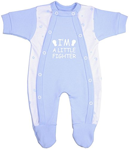 Babyprem Frühchen Baby Kleidung Schlafanzüge Strampler Kleine Kämpfer 44-50cm BLAU 2.5-3.4kg
