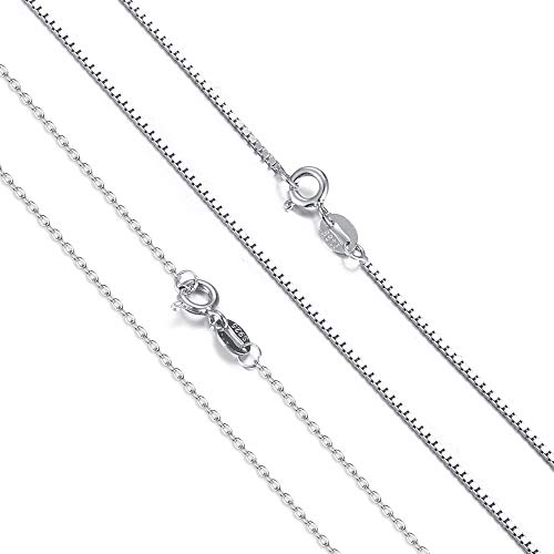 Milacolato 2Pcs Sterling Silver Chain Necklace for Women Men 1mm Box Chains Cable Chains Spring Clasp Necklaces Super Thin & Strong & Long Italian Necklace 20 Inches