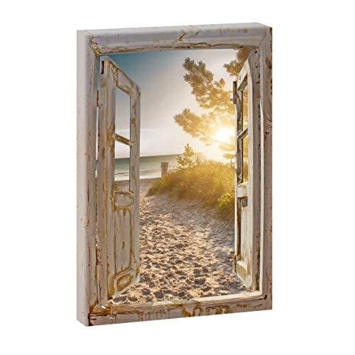 Bild auf Leinwand Fensterblick Hochformat - Abendstimmung am Strand - 120x80 cm Wandbild im XXL-Format, Leinwandbild mit Kunstdruck ungerahmt, Landschaftsbild auf Holzrahmen, Made in Germany, Farbig
