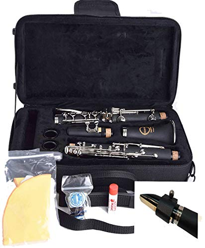 Herche Superior Bb Clarinet   Professional Grade Musical Instruments for All Levels. Complete Set w/shoulder Carrying Case, Rico Bb Clarinet Reeds, Swab, CorkGrease, Service Plan. Educator Approved.