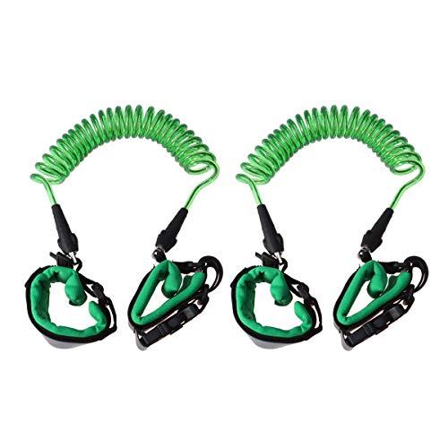 Abaodam 2 pulseras de seguridad para niños con cuerda antipérdida, antipérdida, correa de seguridad para niños (1, 5 m, verde con cabeza giratoria de bloqueo)