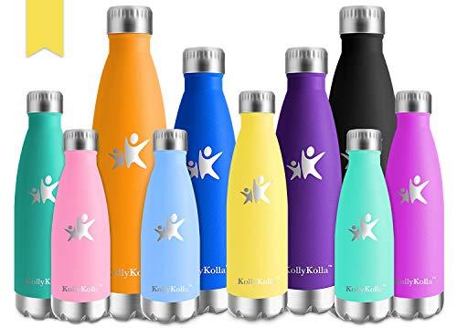 KollyKolla Botella de Agua Acero Inoxidable, Termo Sin BPA Ecológica, Botellas Termica Reutilizable Frascos Térmicos para Niños & Adultos, Deporte, Oficina, Yoga, Ciclismo, (500ml Amarillo Claro)