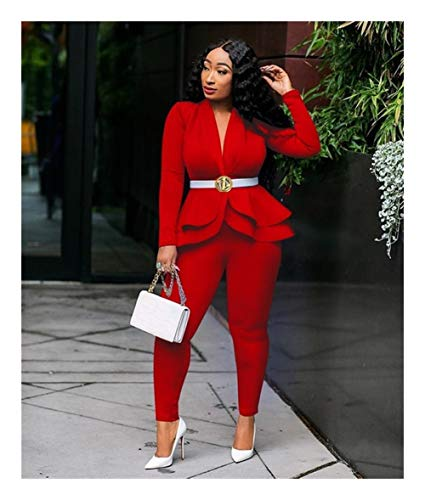ASVNDD Frauen-Winter-Frauen-Set Anzug Voll Sleeve Raff-Bleistift-Hosen-Anzug Zweiteiler Büro-Dame Outfits Uniform (Color : Red, Size : XX-Large)