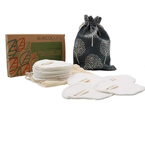 ecopura® Wiederverwendbare Wattepads, Waschbare Abschminkpads aus Baumwolle - 16 Stück inkl. Wäschenetz und Aufbewahrungsbeutel - Nachhaltige Abschminktücher, Makeup Entferner Pads, Reinigungspads