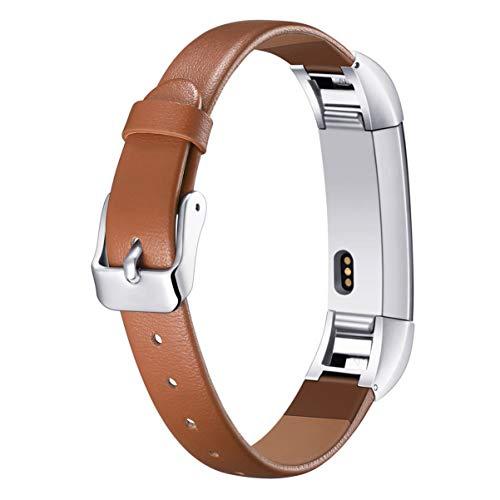 Hemobllo Cinturino per Fitbit Alta HR - Cinturino di Ricambio per Cinturino in Vera Pelle Compatibile con Fitbit Alta HR (Marrone)