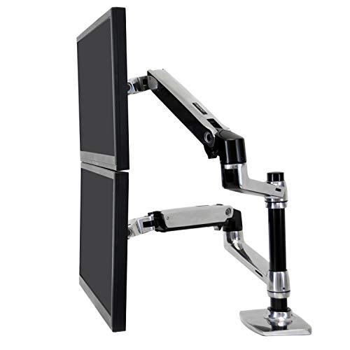 エルゴトロン LX デスクマウント デュアル モニターアーム 縦/横型 アルミニウム 24インチ(6.4~18.1kg)まで対応 45-248-026
