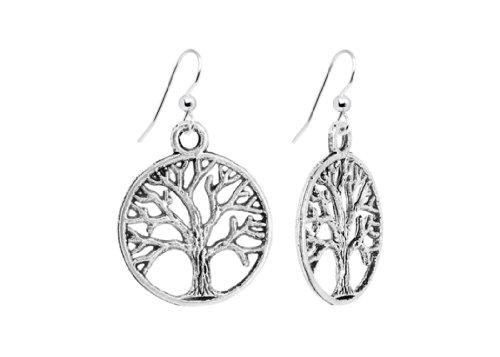 Argento cerchio albero della vita orecchini di Afrodite Gold