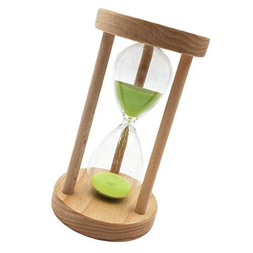 Gazechimp 5/10/ 15/30 Minuten Holzrahmen Sanduhr Teeuhr - aus Holz & Glas & Sand - 14 x 8 cm - Timer für Kochen, Maske, Yoga, Spielen, Zähneputzen usw. - Grün, 10 Minuten