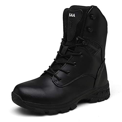 Herren Desert Boots Side Zip Tactical Boots wasserdichte Leder-Kampfstiefel Outdoor Hunting rutschfeste Stiefel für hohe Arbeiter,Schwarz,39EU