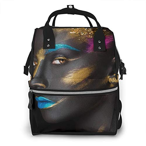 African American Black Woman Fashion Makeup On Face Baby Diaper Bag Backpack,Multi-Function Waterproof Large Capacity Travel Nappy Bags For Mom