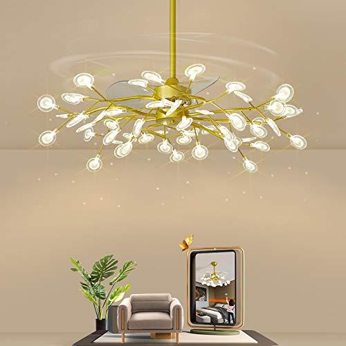 L-WSWS Luz del ventilador de techo Lámpara de ventilador personalizada nórdica, sala de estar creativa, lámpara, moderna, sencilla, Firefileda, LED, sala de comedor, iluminación de dormitorio