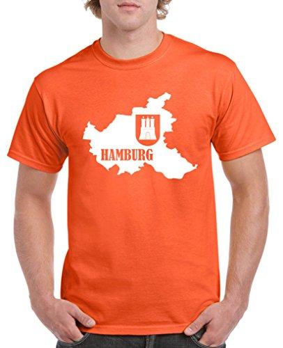Comedy Shirts - Hamburg Landkarte mit Wappen - Herren T-Shirt - Orange/Weiss Gr. XXL