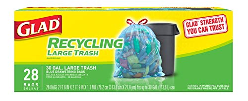Glad Large Drawstring Recycling Bags  30 Gallon Blue Trash Bag  28 Count Package May Vary CXC212