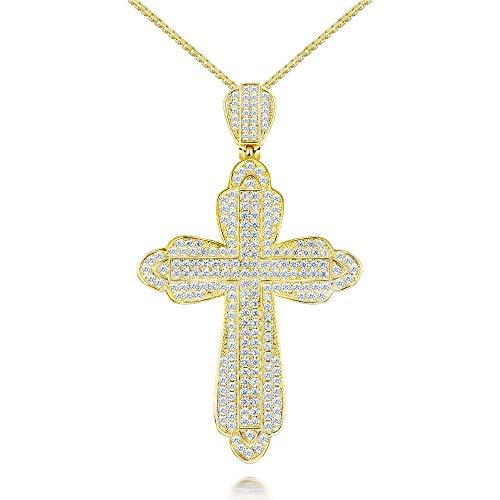 JIAOBU Colgante Clásico Collar Cruzado De Diamantes Chapados En Oro De 18 Quilates Adecuado para Cualquier Ocasión para Usar Oro De 18 Quilates