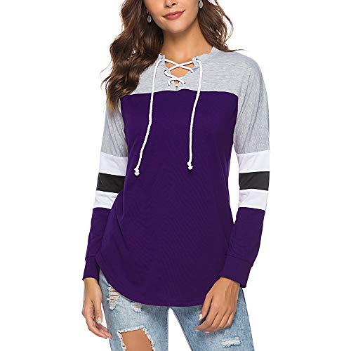 Camiseta de Patchwork de Mujer con Cordones Camisas Tops de otoño Deportes Sudadera, Púrpura, M