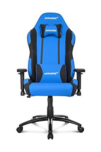 AKRACING Core EX Gaming Stuhl mit 5 Jahren Herstellergarantie für PC/PS4/XBOX/Nintendo, Schreibtischstuhl mit Kissen, Stoffbezug - Blau/Schwarz