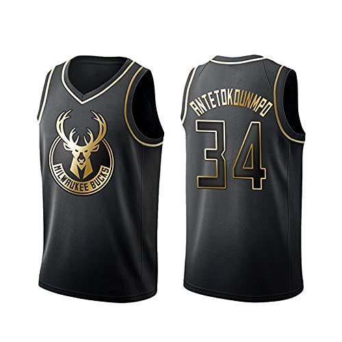 ZRHZB Redes de Baloncesto Jersey-Bucks Uniforme de Baloncesto de Oro Negro, Giannis Antetokounmpo-Kobe Wade-James All-Star Fan Ball Jersey,34#,M