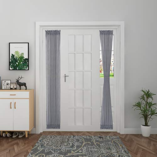 Aquazolax French Door Curtain Panel Linen Look Patio Glass Door Panels Premium Soft Sheer Curtains with Tieback for Sidelights Front Door, 1 Piece, W30 x L72 Inches, Grey