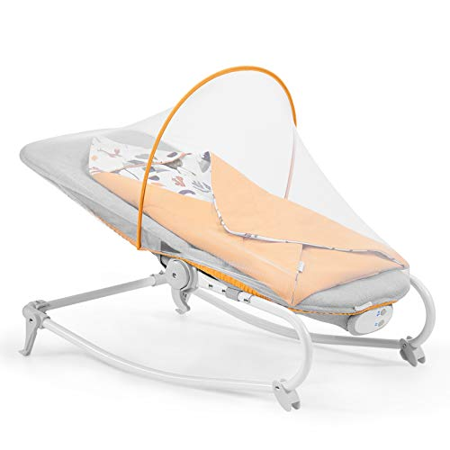 Kinderkraft Baby Bouncer FELIO 2020, Infant Rocker, Electric Swinger, Crib, Foldable, Lying Position, with Accessories, Removable Toy Bar, Vibration, 8 Melodies, for Newborn, Toddler, to 18 kg, Yellow